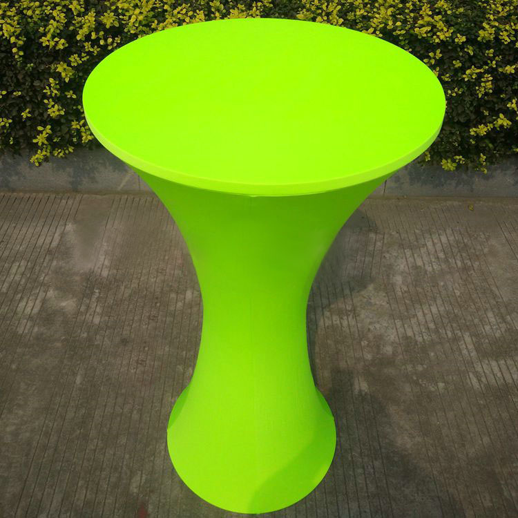 Free Shipping 10pcs Lime Green Round Based Lycra Spandex Cocktail Table Cloths Wedding Stretch Bar Table Covers(China (Mainland))