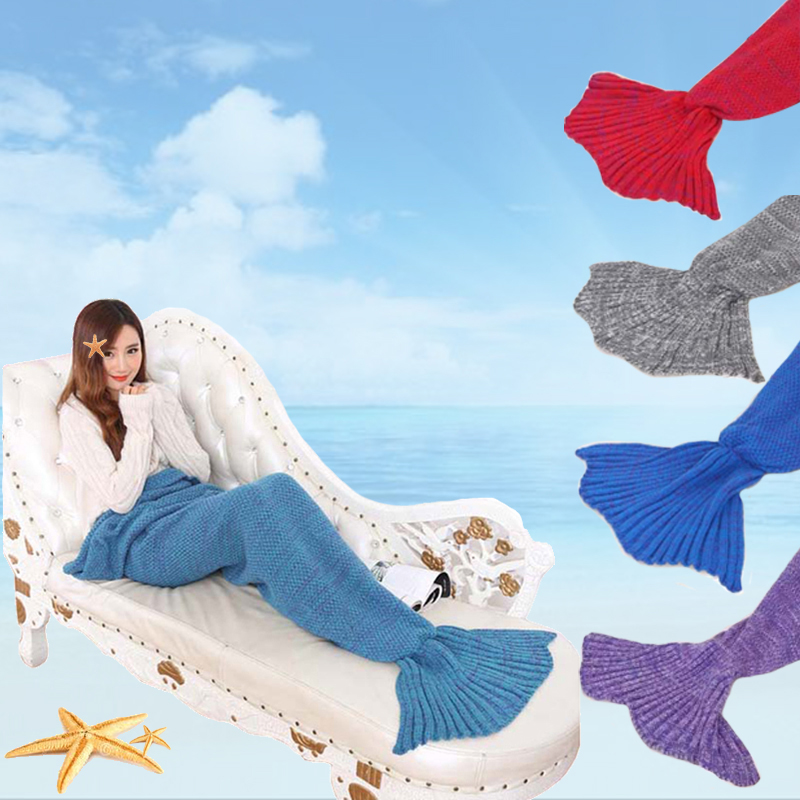 1x Yarn Knitted Mermaid Tail Blanket Handmade Crochet Adults Throw Bed Wrap Super Soft Blankets(China (Mainland))