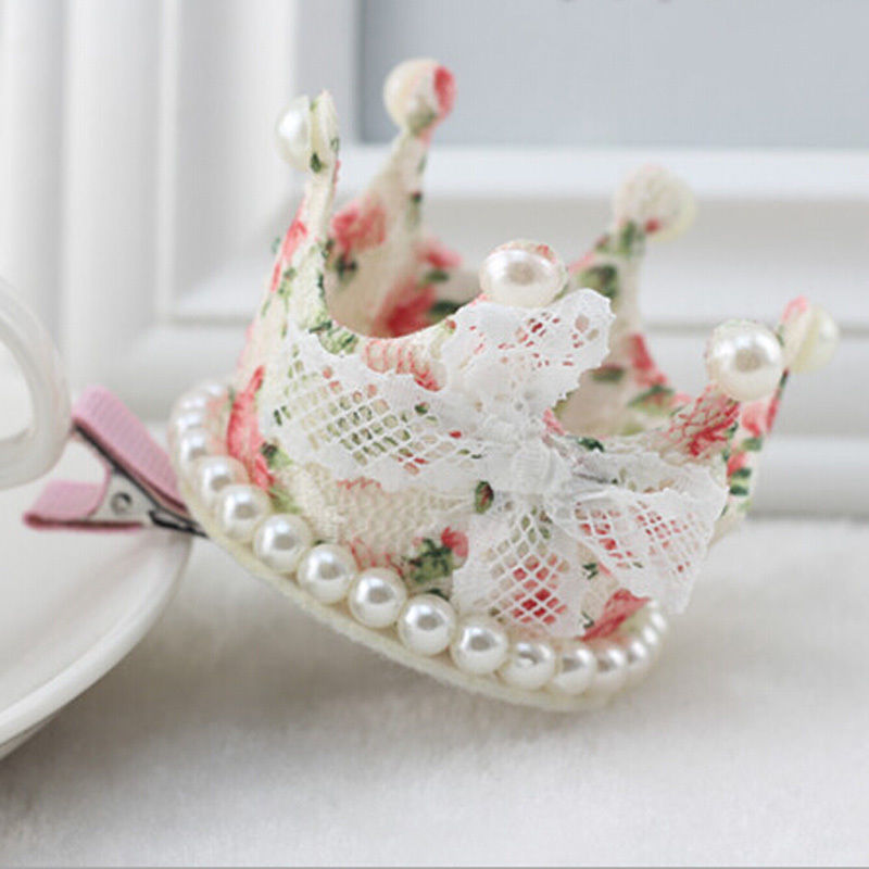 1 PC Baby Girl Toddler Infant Lovely Bobby Lace Bowknot Barrete Crown Pearl Princess Hairpin Hair Clip Pins Hair Accessories(China (Mainland))