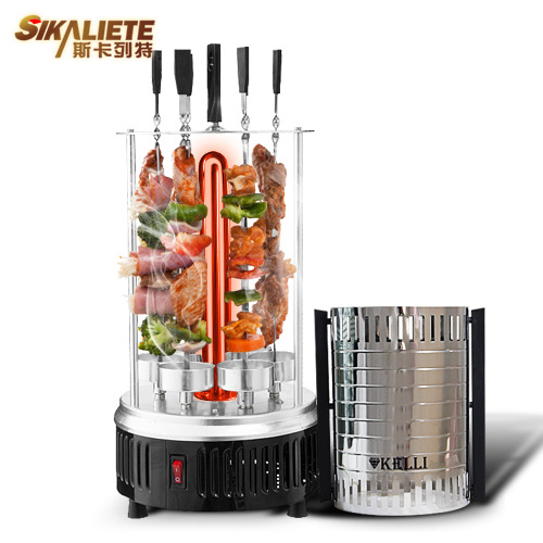 Electric Power Vertical BBQ Grill Stainless Steel Broiler Barbecue Grill Oven Home Smokeless BBQ Churrasco Kebab Grill Machine(China (Mainland))
