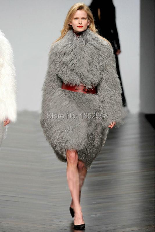Factory Direct Sale Mongolian Fur Women X-Long Coats/Fur-031-01 Fashion Coats OEM(China (Mainland))