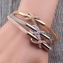 Bracelets Wholesale 2016 Magnetic Clasp Bracelsets for Women Gold Plated Snake Chain Bracelet Female Crystal Jewelry Femme B422(China (Mainland))