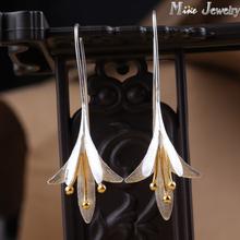 Ultimo nuovo stile di modo 925 d'argento orecchini di goccia del fiore d'argento orecchini gioielli pendientes brincos gioielli di moda(China (Mainland))