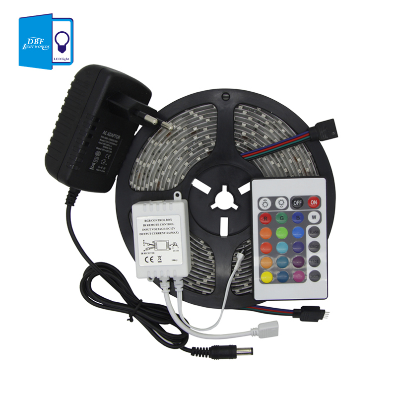 [DBF] Waterproof 5M SMD RGB 3528 LED strip 300 LEDS/rollt+24key IR remote Controller +2A adapter(China (Mainland))