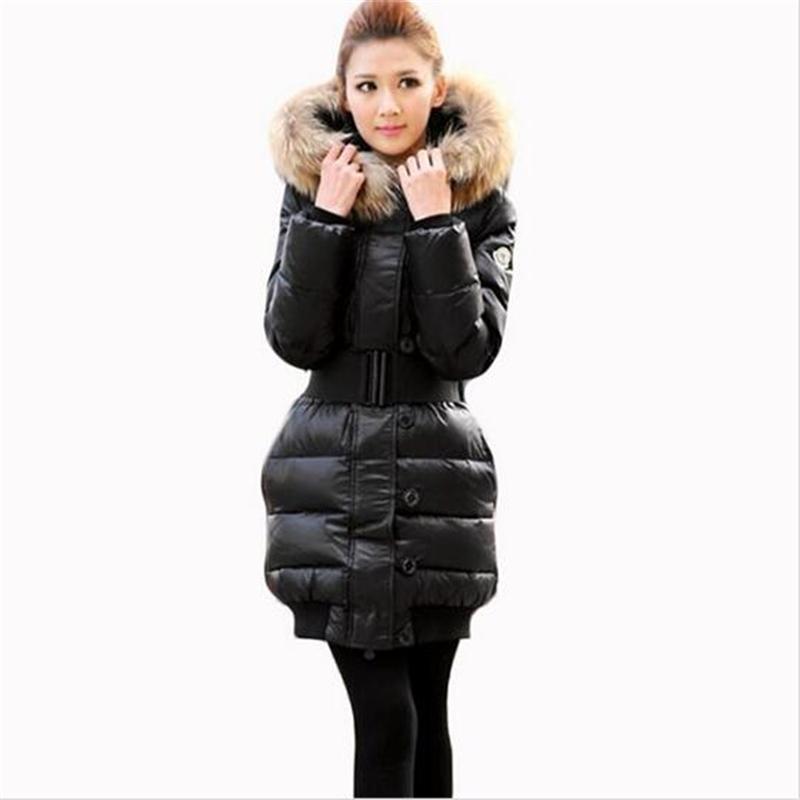 2016 Winter Women's Coat White Duck Down Jacket Luxury Large Natural Raccoon Fur Hooded Coat Plus Size Jaqueta Feminina(China (Mainland))