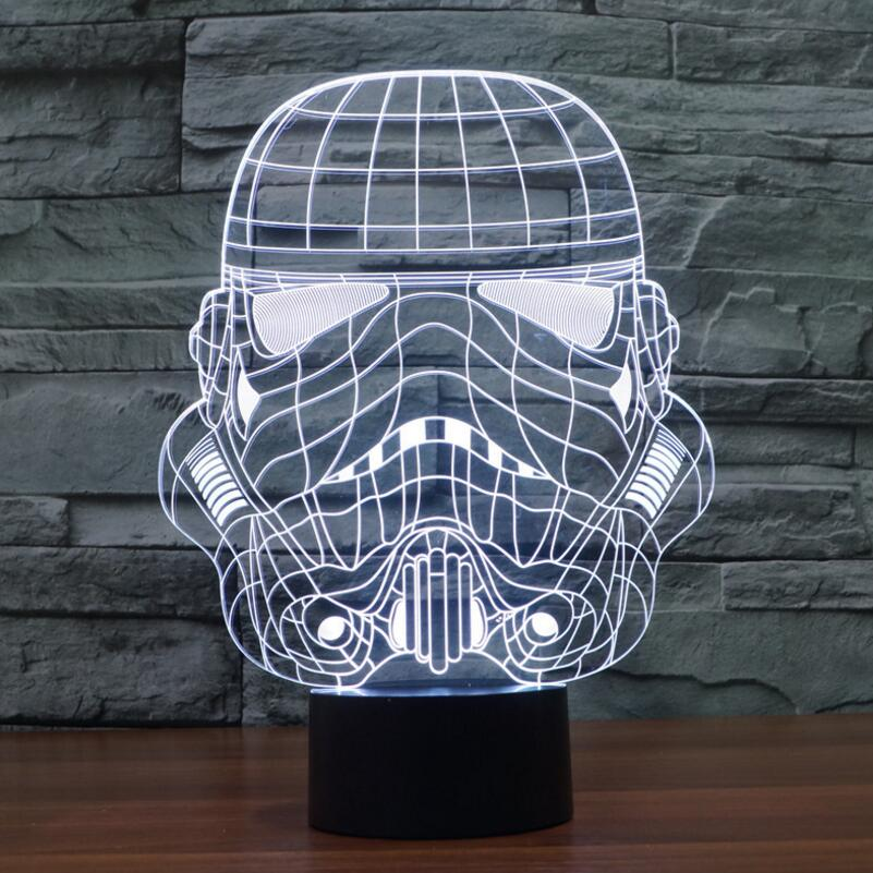 bb8 Star Wars 7 color changing visual illusion LED lamp Darth Vader Millennium Falcon toy 3D