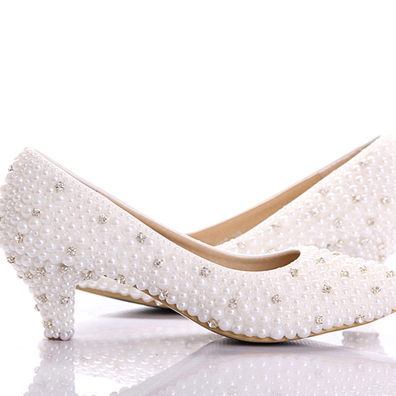 custom make large size small heel bridal wedding shoes