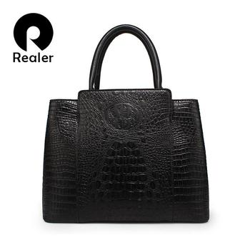 2016 new brand Realer female leather bag crocodile bags women handbag large capacity black tote bag bolsa feminina
