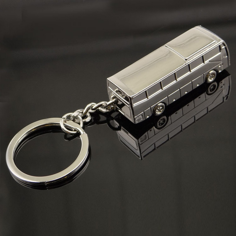 thick heavy Zinc Alloy men keychain bag pendant Simulation mini bus Two colors can choice Car key chain ring Jewelry xccj-001(China (Mainland))