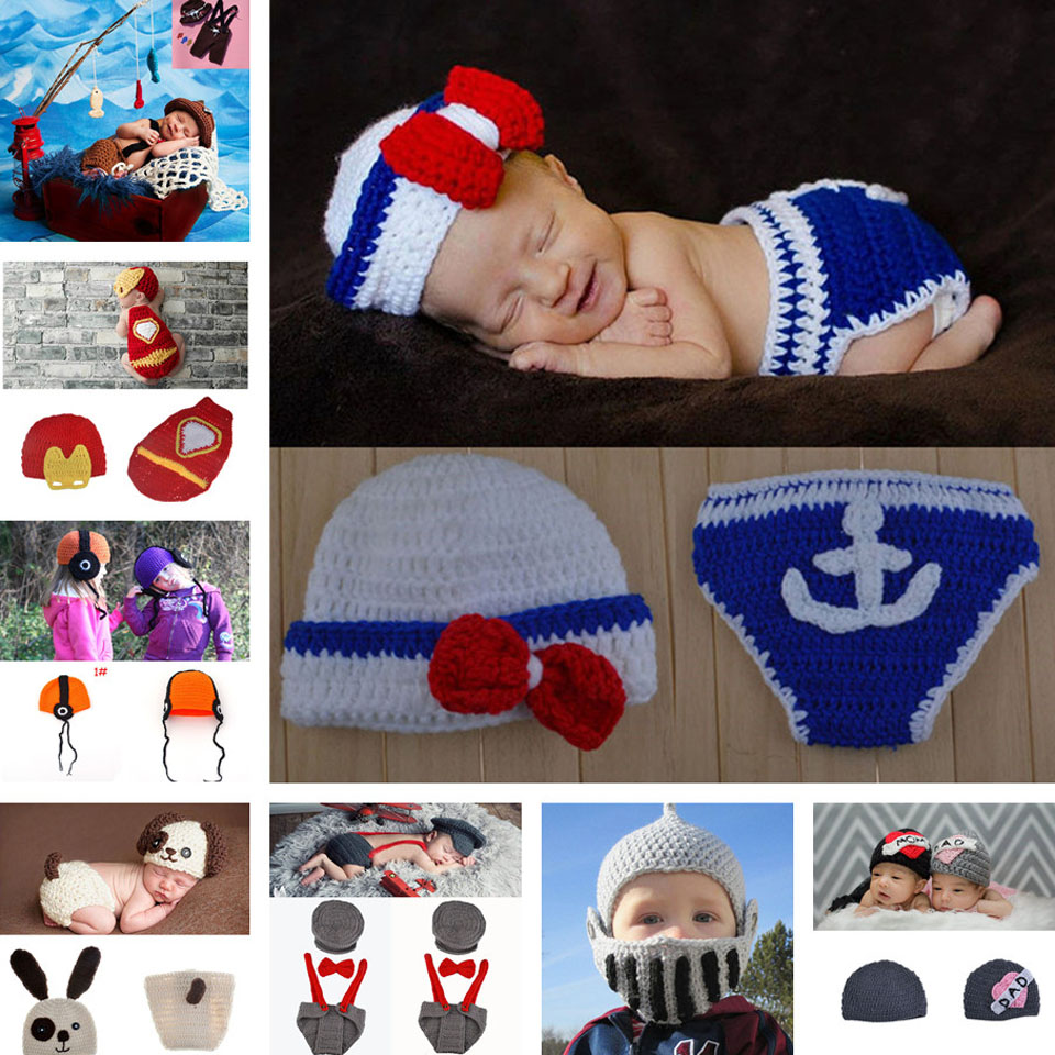 Sailor Design Baby Crochet Hats Photography Props Boy Knitted Infant Newborn Navy Photo Props Knitted Baby Winter Hat MZS-15011(China (Mainland))