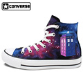 New Unique Police Box Galaxy Men Women Converse All Star Canvas Shoes Design Hand Painted Sneakers