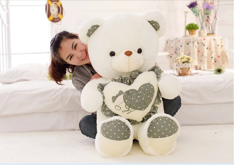 huge lovely green spots teddy bear doll hold green heart bear doll plush toy gift about 120cm(China (Mainland))