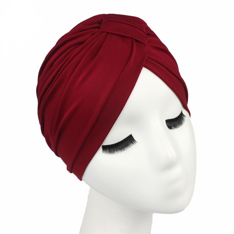 2017 New Fashion Women Indian Stretchable Cotton Turban Hat Headband Wrap Chemo Bandana Hijab Pleated Indian Cap(China (Mainland))