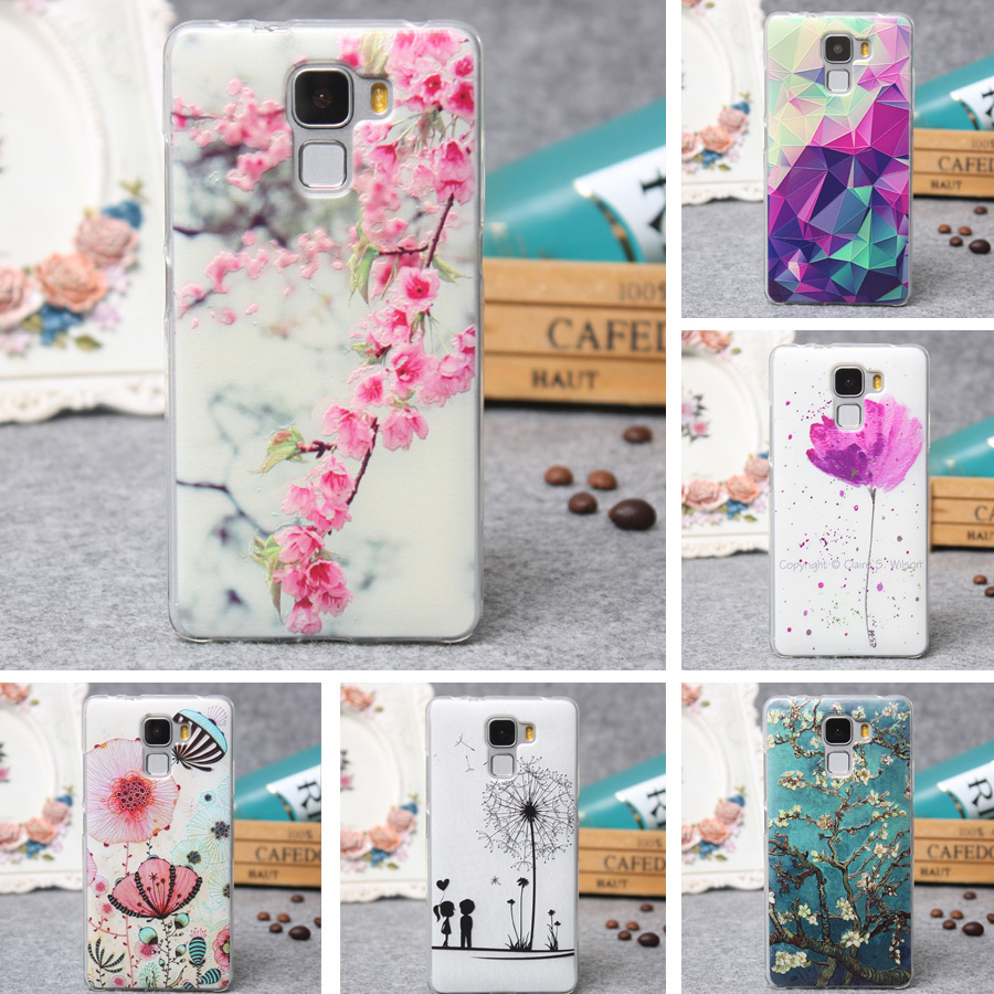 for Huawei Ascend Mate 7 Case Cover Luxury 3D Relief Printing Soft TPU Back Cover Phone Cover Silicon Case for Huawei Mate 7 Bag(China (Mainland))