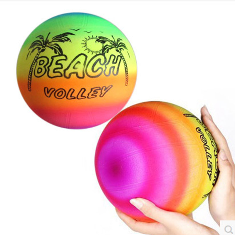 5pcs Inflatable Balls 22CM PVC Beach Ball birthday party decoration Rainbow Volleyball Outdoor Sports Toy Beach Ball baby gifts(China (Mainland))