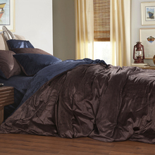 Flannel Fleece Winter Thick Duvet cover sets Coffee Full Queen King size 4pcs Warm Bedding set bedclothes Bedsheet/Bed linen(China (Mainland))