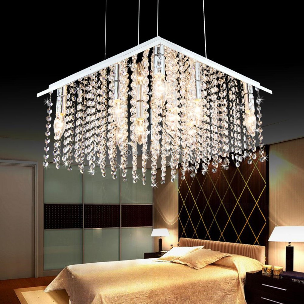 Modern square crystal chandelier bedroom living room for Living room chandelier