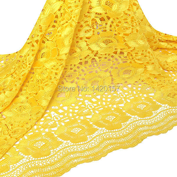 High quality yellow wedding french lace fabric, pink white embroidered lace fabric uk wholesale for big party 2015(China (Mainland))