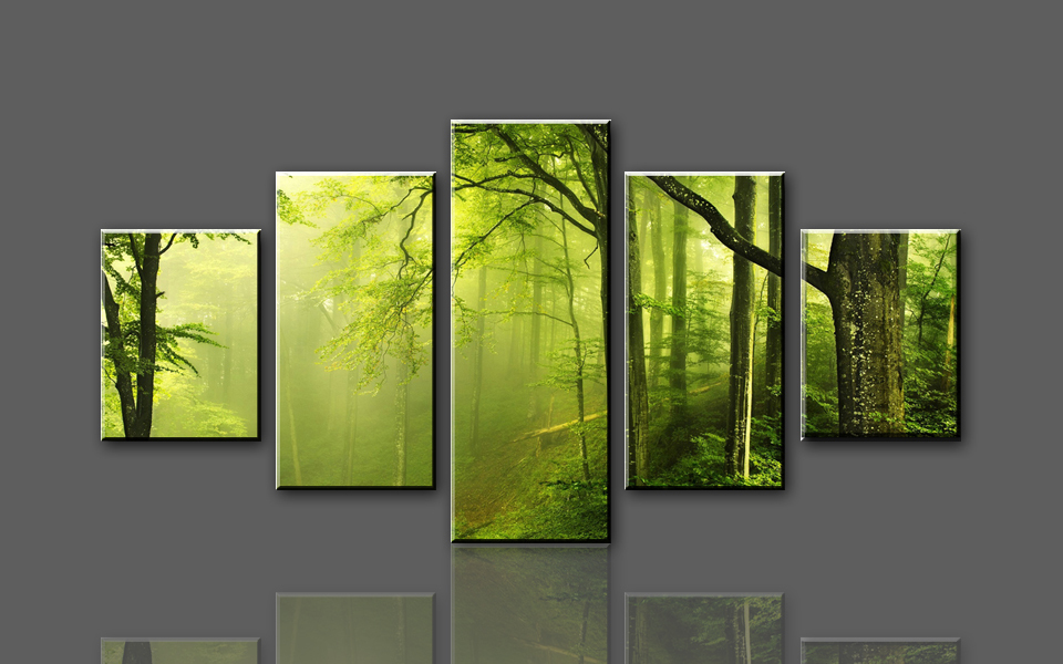 Buy h719 green woods and paths 5 panel for Buy large canvas prints