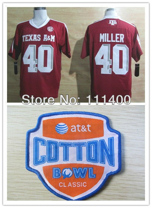2014 New Arrival Hot Sale!!! NCAA football jersey Texas A&M Aggies #40 Von Miller Red jersey embroidery Logo stitched ,mix order(China (Mainland))