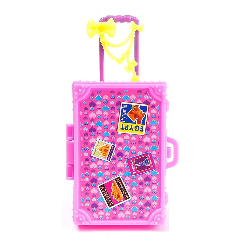 Children Toy Plastic 3D Cute Journey Suitcase Baggage Case Trunk For Barbie Doll Home Reward Toys Dollhouse Furnishings