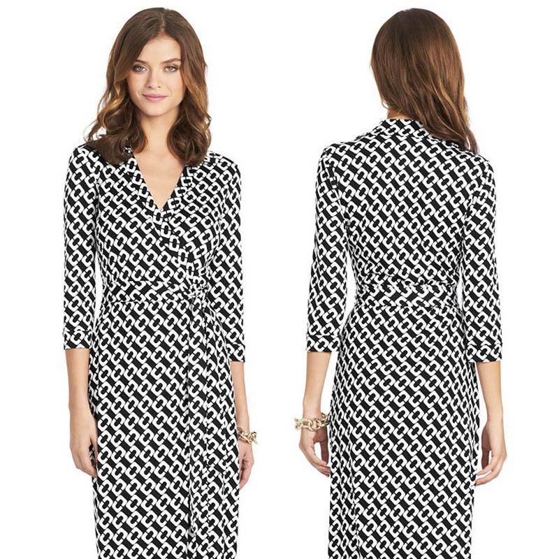 2015 Fashion Women Dress Slim Lace-Up Milk Silk V-Neck Splicing Printing Wrap Dresses Long Sleeved Women Clothing AD-26