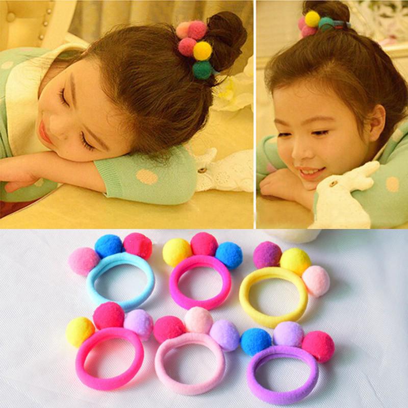 Hot Sale 2017 New Cute 3 Balls Elastics Hair Holders Bands Gum Fashion Kids Candy Rubber Bands Headwear Girl's Hair Accessories(China (Mainland))