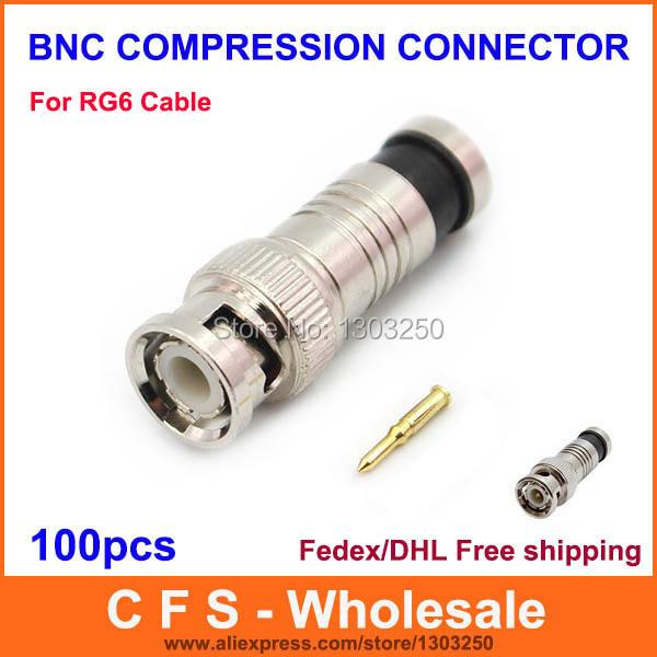 BNC Connector Male Compression Coax RG6 CCTV Cable Connectors BNC Insulation Connector Free shipping 100pcs wholesale(China (Mainland))
