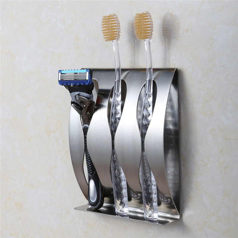 Organizador De Baño Acero Inoxidable:Stainless Steel Wall Mounted Toothbrush Holder