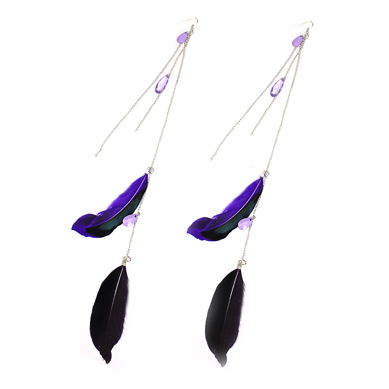 HOT SALE NEW FASHIONSUPER LONG 35cm FEATHER EARRINGS RESIN BEADS F035(China (Mainland))