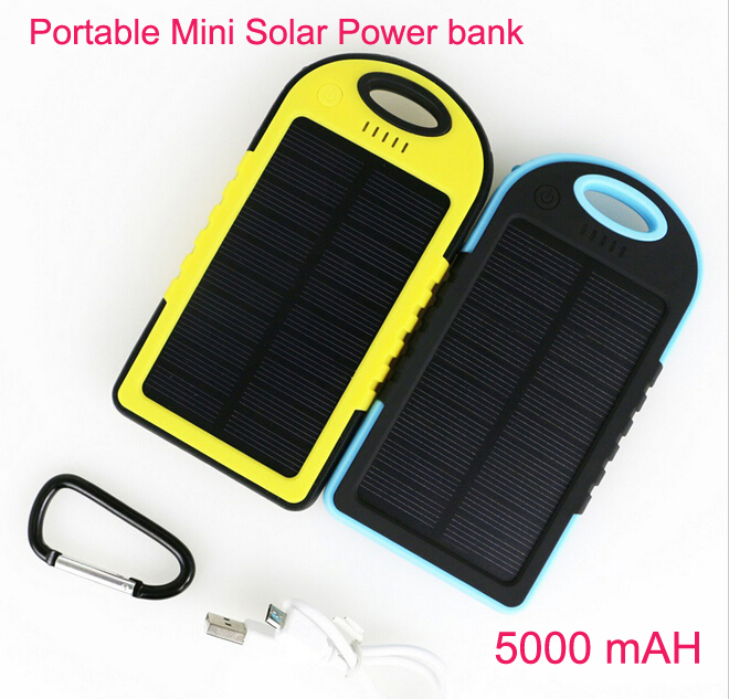 2015 Waterproof Solar Charger Power Bank 5000mah Portable External battery Charger Backup Bateria Polymer Lithium Solar Panel(China (Mainland))