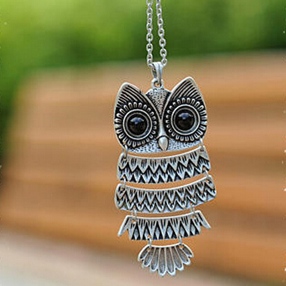 produto $10 (mix order) Free Shipping 2013 New Fashion  Korea Adorn Article Owl Necklace Ancient Owl Sweater Chain 24g N46