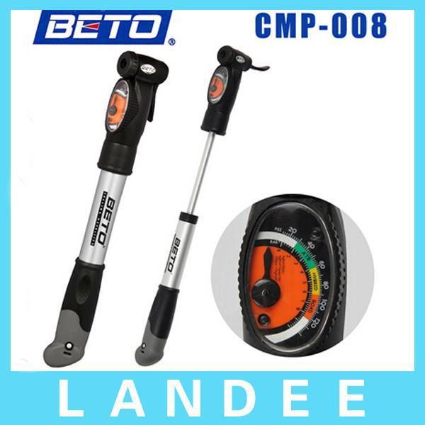 2014 BETO Aluminium Alloy Mini Portable Cycling Bike Bicycle Tire Inflator Air Pump with Pressure Gauge Bracket CMP-008(China (Mainland))