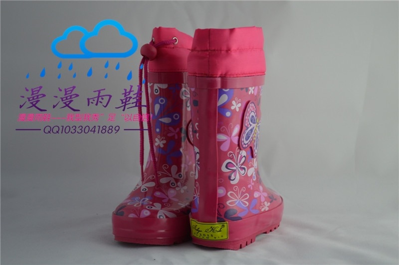 Genuine special girls rubber boots boots water shoes waterproof antiskid big butterfly with cashmere Qiu dongkuan(China (Mainland))