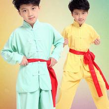Children Stage Performance Costumes Tai Chi Martial Arts Wing Chun Outfits Boys Girls Fitness Suit Chinese Kung Fu Clothing Set