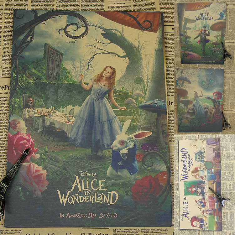 Alice in wonderland retro movie poster kraft paper for Alice in wonderland wallpaper mural
