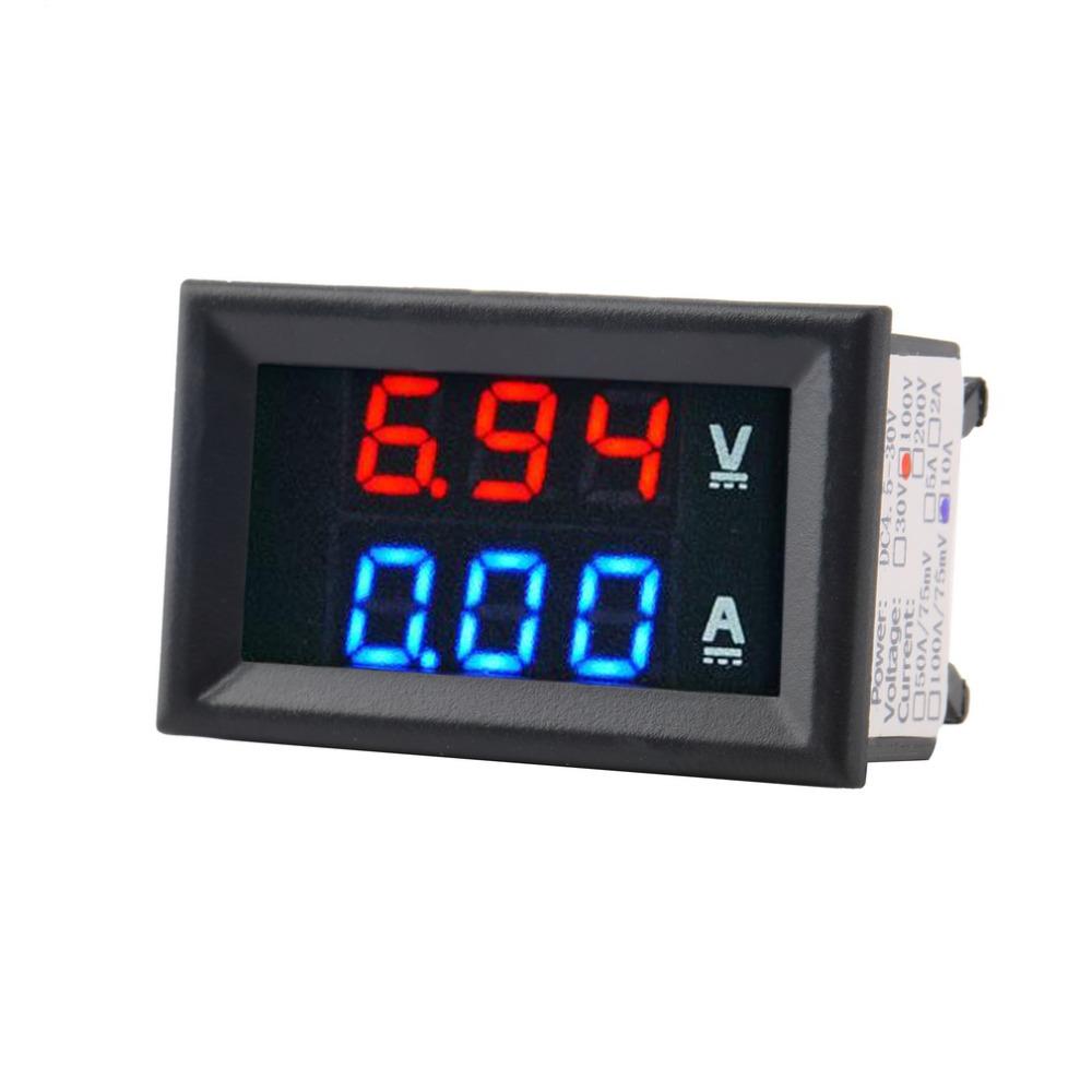 1pcs Top Quality DC 100V 10A Voltmeter Ammeter Blue + Red LED Amp Dual Digital Volt Meter Gauge(China (Mainland))