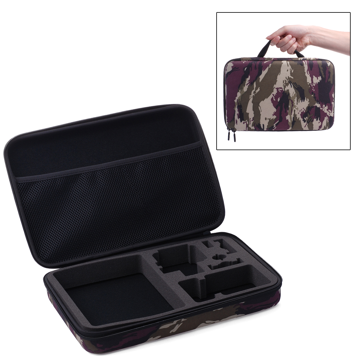 Camo Storage Carry Case Bag for Gopro Hero 3+ 3 2 1 Camera Accessories 32x21x6cm OS159(China (Mainland))