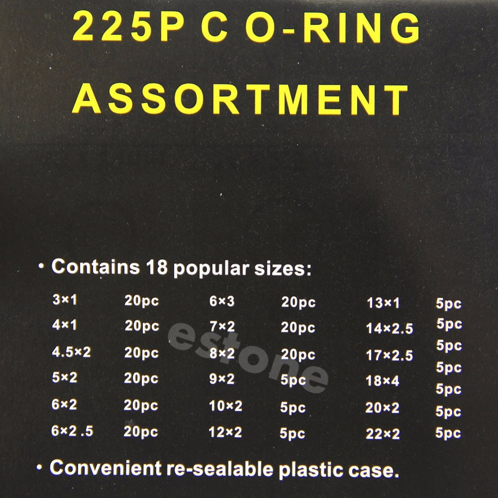 225 x Rubber O Ring O Ring Washer Seals Assortment Black for Car