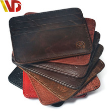 First layer cow Skin Brand Slim Credit Card Holder Mini Wallet mens Leather ID Case Purse Bag Pouch New cover for a passport