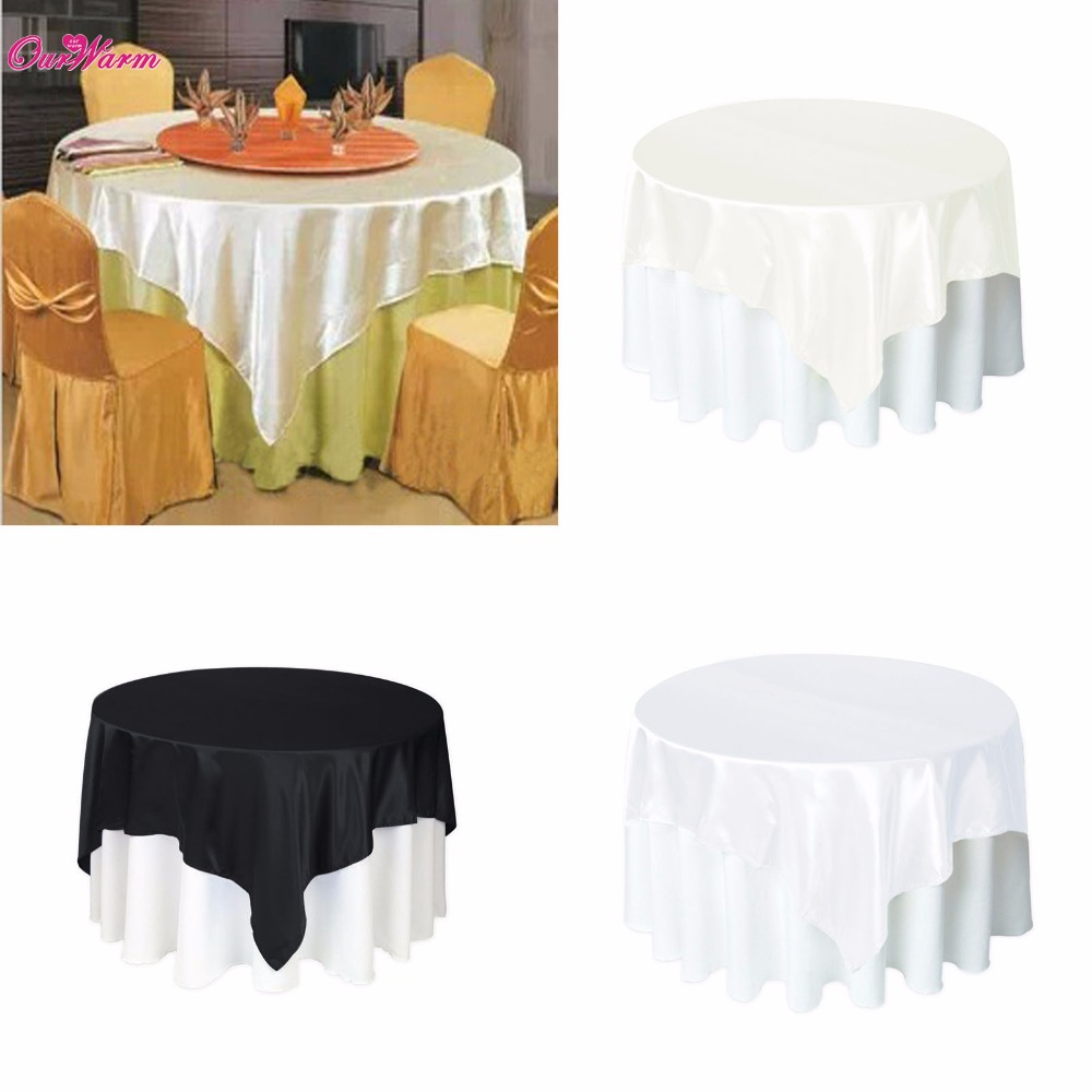 Cheap 5Pcs Satin Table Cloth Modern Tablecloth Round Tables Covers for Wedding Decoration Party Christmas Tablecloths 145*145cm(China (Mainland))