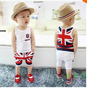 2015 new children boy clothing set for summer England style flag print vest +fashion pants for baby boys(China (Mainland))
