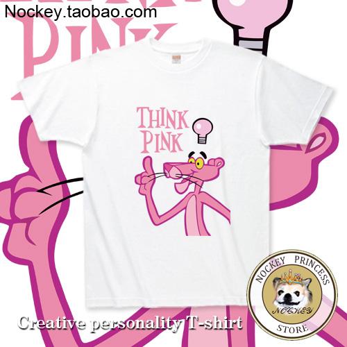 Pink Panther Female T-shirt 100% cotton o-neck men's clothing short-sleeve Light Tee(China (Mainland))