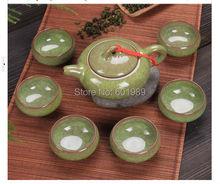 Sale crackle glaze Chinese tea set porcelain tea set kung fu Calvings glaze tea set 1pc