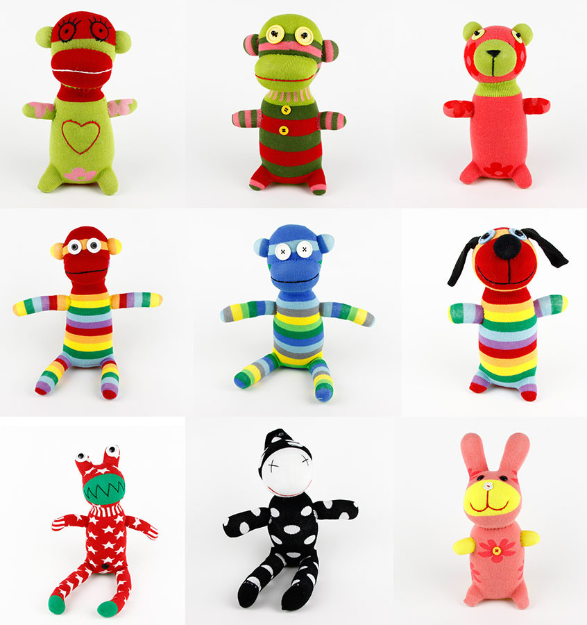 Handmade DIY Stuffed Kid's Green Sock Monkey Baby Show Toys Birthday Gifts Christmas New Year Soft Animals Doll(China (Mainland))