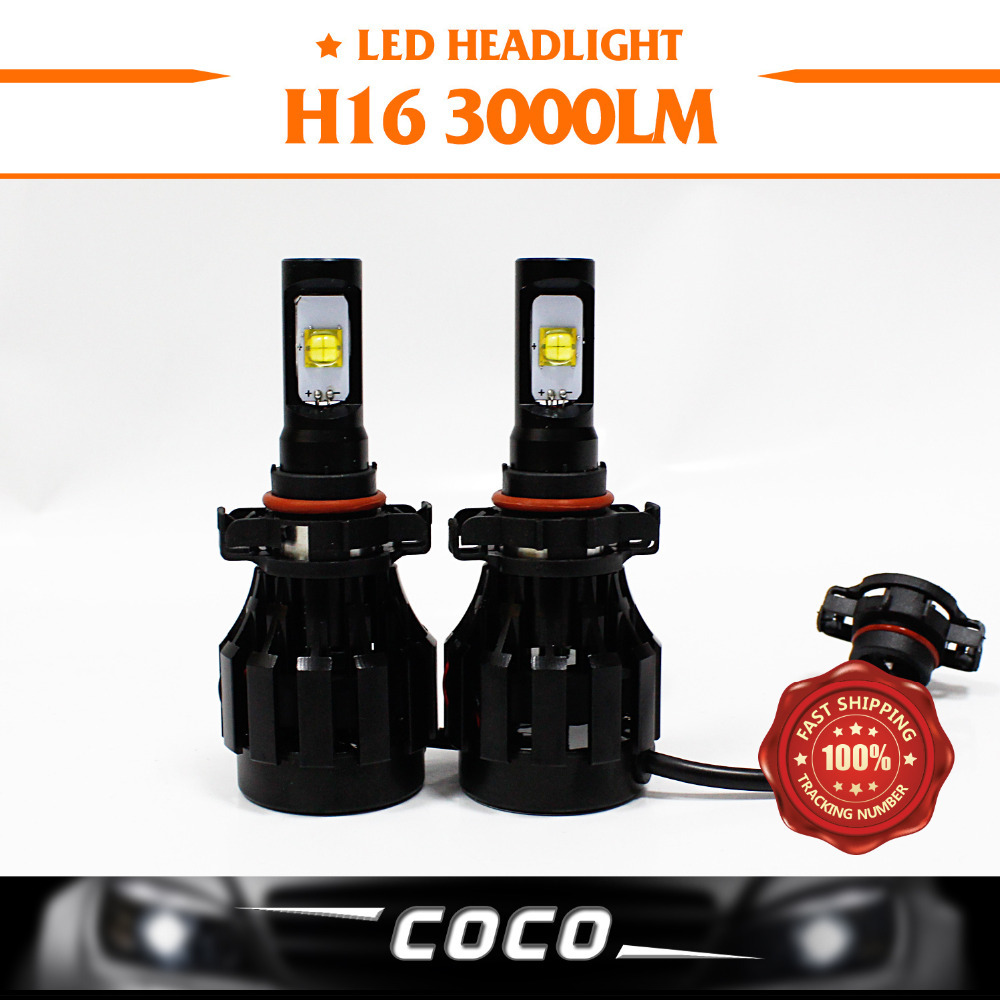 2x Real Super bright 30W 3000LM H16/5020 CREE Chip LED Headlight Driving Daytime Running Light White Lamp Fast Cooling<br><br>Aliexpress