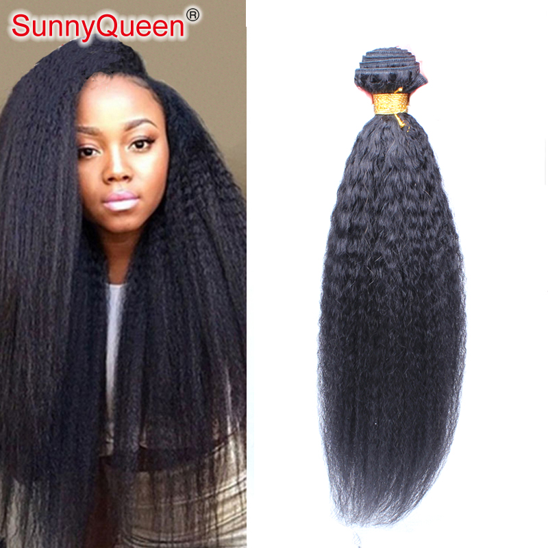 6A 1PC Mongolian Kinky Straight Virgin Hair Extensions Sunny Queen Hair Products Mongolian Virgin Hair Kinky Straight Human Hair