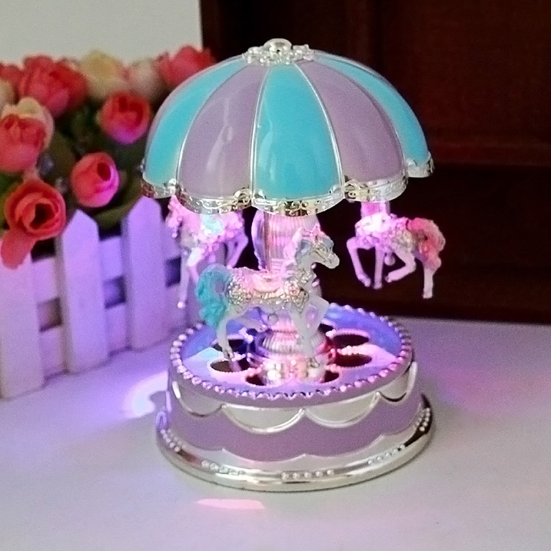Free Shipping LED Light Merry-Go-Round Music Box Christmas Birthday Gift Toy Carousel Random Color(China (Mainland))