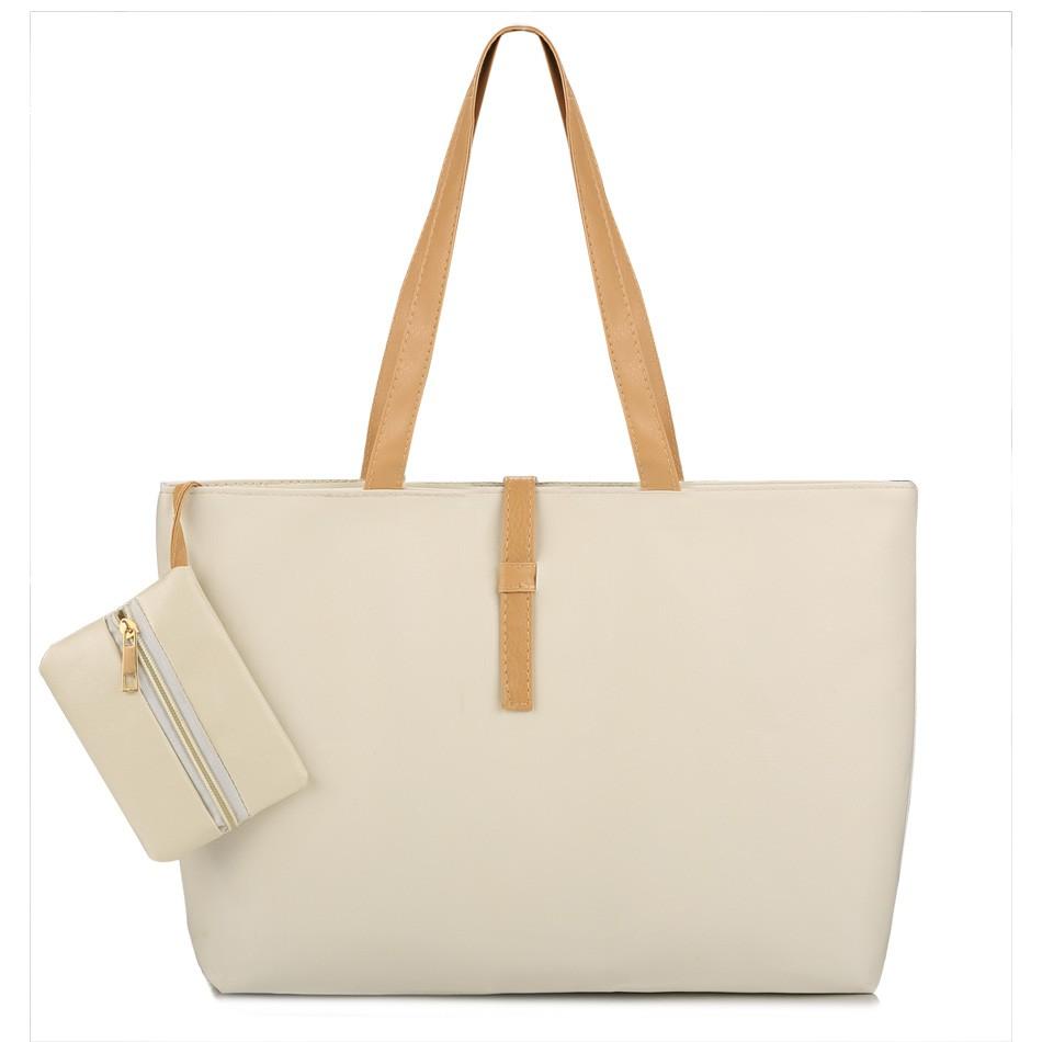Fashion Women Big Capacity Handbag Casual Solid One Big + One Small 2pcs Woman Bag Shoulder Bag PU Leather Worth to Buy(China (Mainland))