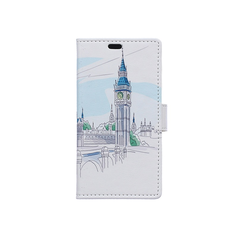 Phone Case Patterned Card Holder PU Leather Shell for Samsung Galaxy J7 (2016) - Bell Tower(China (Mainland))